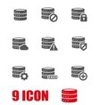 grey database icon set vector image vector image