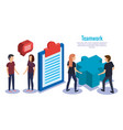 group of people teamwork with business icons vector image