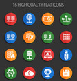 hosting provider 16 flat icons vector image vector image
