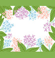 hydrangea flowers frame vector image vector image