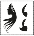 icon silhouette of a girl with long hair vector image vector image
