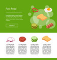 isometric burger banner vector image vector image
