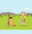 kids scouts characters in uniform camping next to vector image vector image