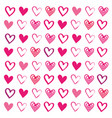 love heart drawn brush design seamless pattern vector image