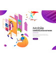 people using modern technologies of mobile vector image vector image