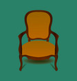 Retro brown armchair on green background
