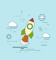 rocket is flying in the clouds vector image