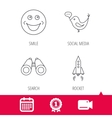 Rocket social media and search icons vector image vector image