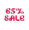sale 65 percent off vector image