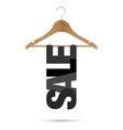 sale sign on a wooden hanger vector image vector image