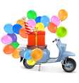Scooter with Gift and Balloons vector image