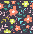 seamless pattern with flowers scandinavian style vector image vector image