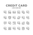 set line icons credit card vector image vector image
