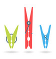 set of colorful isolated clothes pegs vector image