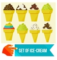 set of Ice cream in waffle cup vector image