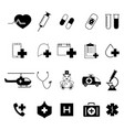 set of medical black icons vector image vector image