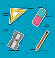 set school tools patches sticker education vector image