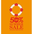 summer sale 50 discounts with life buoy vector image