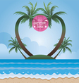 Summer Sea and Coconut Palm Tree on Island Frame vector image vector image