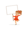 sweet girl carrying blank signboard kid standing vector image vector image