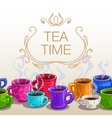 Tea time square banner vector image vector image