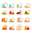 vegan vegetarian dishes flat icons set vector image