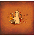 Vintage background with coffee pot vector image vector image