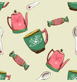 vintage pattern with kettle cup and candy vector image vector image