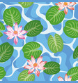 water lily green leaves blue lake vector image