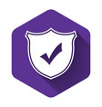 white shield with check mark icon isolated with vector image vector image