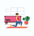 woman-home-fitness vector image vector image