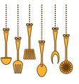 yellow kitchen utensils icon image vector image vector image