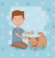 young man with cute dog mascot vector image
