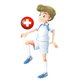 A soccer player with the flag of Switzerland vector image