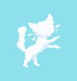 white fluffy cloud in form of little kitten vector image