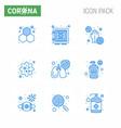 9 blue corona virus pandemic virus particle vector image vector image