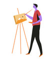 artist or painter with easel and paintbrush vector image vector image