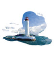 banner with lighthouse and triangulated seascape vector image