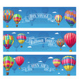 banners for hot air balloon travel voyage vector image vector image