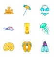 Beach icons set cartoon style vector image vector image