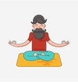 Bearded man in meditation vector image vector image