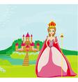 Beautiful queen in front of her castle vector image vector image