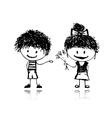 boy and girl sketch vector image vector image