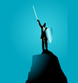 businessman raising a sword and shield on top vector image