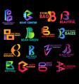 company corporate identity b icons gradient design vector image