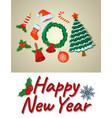 concept happy new year card isolated icon cartoon vector image vector image