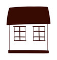 cottage cartoon two windows facade isolated design vector image vector image