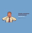 excited businessman hold hands face head happy vector image