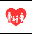 family in heart icon on withe vector image vector image