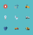 flat icons hoisting machine mitten van and other vector image vector image